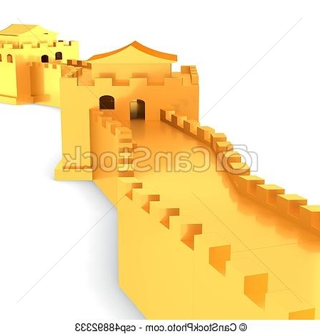 Great Wall Of China 3D Wall Art within 2018 3D Golden Great Wall Of China On White Background 3D Illustration.