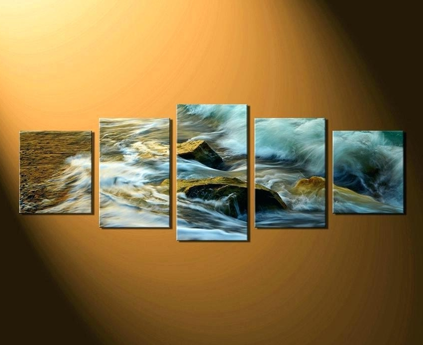 Great Wave Multi Panel Canvas Wall Art Piece Artwork – Koodata.co For Most Up To Date Multi Canvas Wall Art (Gallery 15 of 15)