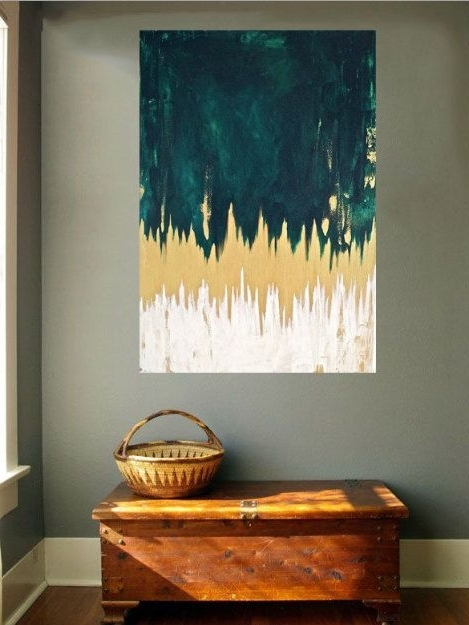 Green Abstract Wall Art With Regard To Well Known Emerald Green Abstract Chevron Painting, Gold And Green Paint (View 5 of 15)