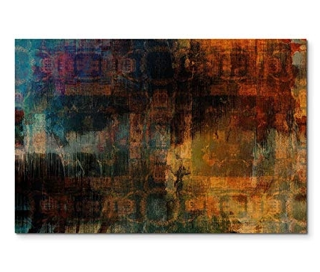 Green Abstract Wall Art with Well known 120 X 80 Cm Canvas Painting Acrylic Orange Green Blue Black Abstract