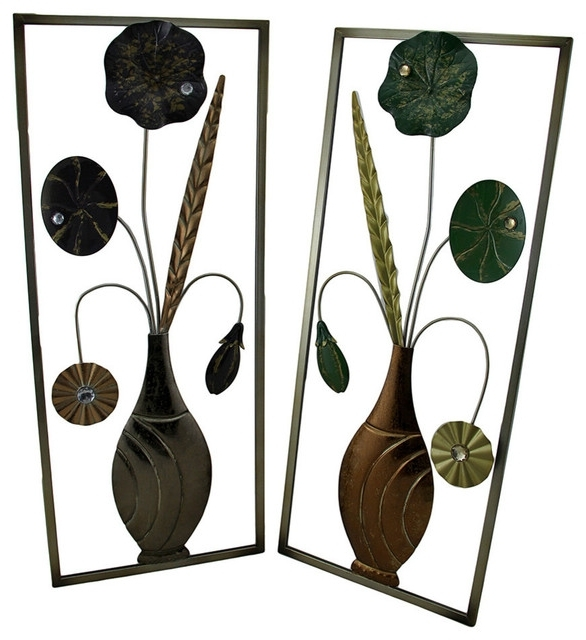 Green And Lavender Jeweled Metal Flowers Wall Sculptures, 2 Piece Throughout Most Current Jeweled Metal Wall Art (Gallery 9 of 15)