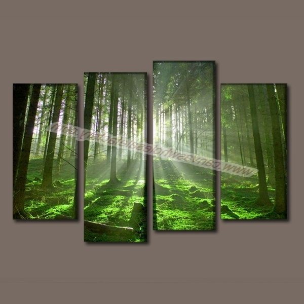Green Canvas Wall Art Throughout Most Current Home Decor Canvas Wall Art Painting Green Forest Art Picture Canvas (View 14 of 15)