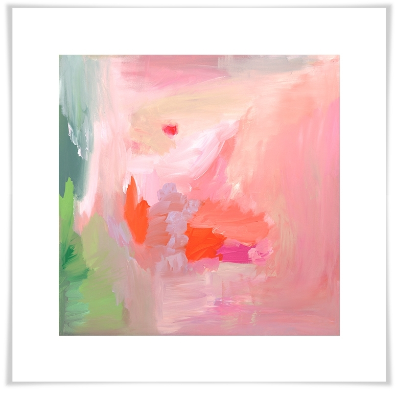 Greenbox With Pink Abstract Wall Art (Gallery 9 of 15)