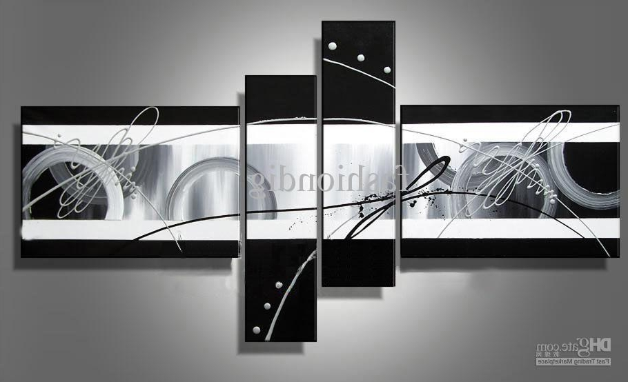 Grey Abstract Canvas Wall Art For Favorite Stretched Abstract Oil Painting Canvas Black White Grey Artwork (View 5 of 15)