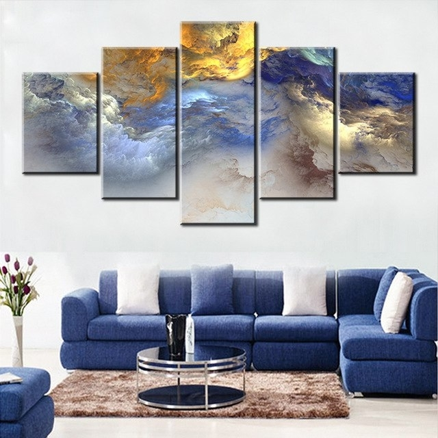 Grey Abstract Canvas Wall Art For Well Liked 5 Pc Set Blue Yellow Grey Abstract Cloud No Frame Oil Painting (View 6 of 15)
