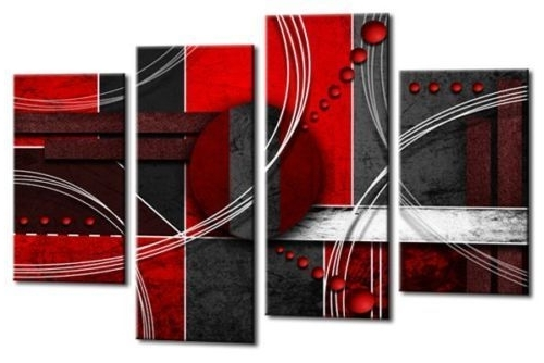 Grey Abstract Canvas Wall Art Regarding Newest Large Red Black Grey Abstract Canvas Wall Art Picture Split Multi  (View 9 of 15)