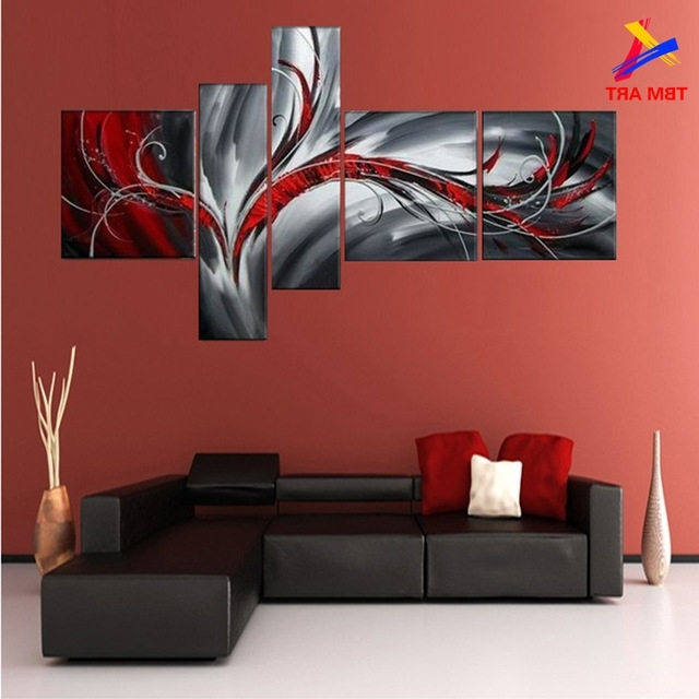 Grey And Red Color Pic Abstract Canvas Painting Large Handmade intended for Trendy Black And White Wall Art With Red