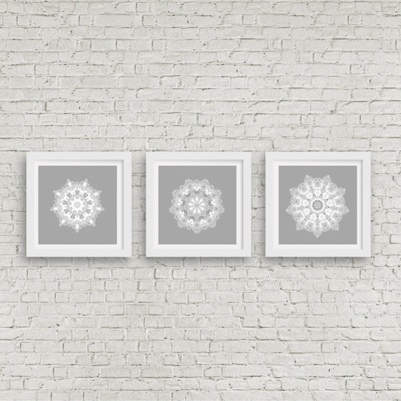 Grey Mandala Wall Art Set Of 3 Matching Prints White Wall Art Modern With Well Known Matching Wall Art Set (View 3 of 15)