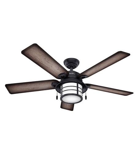 Grey Outdoor Ceiling Fans Pertaining To Newest Hunter Fan 59135 Key Biscayne 54 Inch Weathered Zinc With Burnished (View 5 of 15)