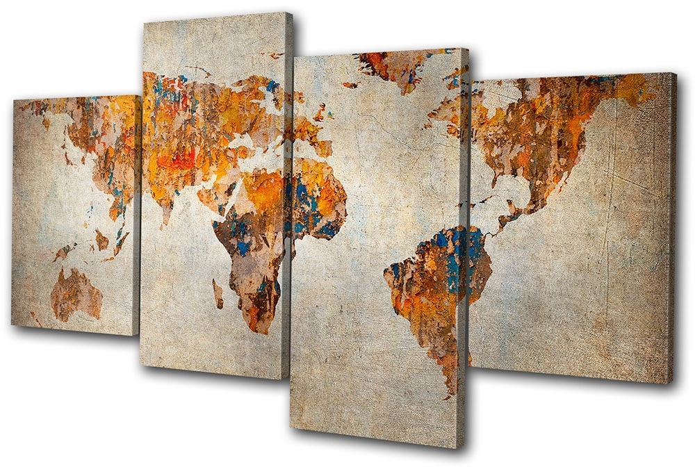 Grunge World Atlas Maps Flags Multi Canvas Wall Art Picture Print Va With Well Known Atlas Wall Art (Gallery 7 of 15)