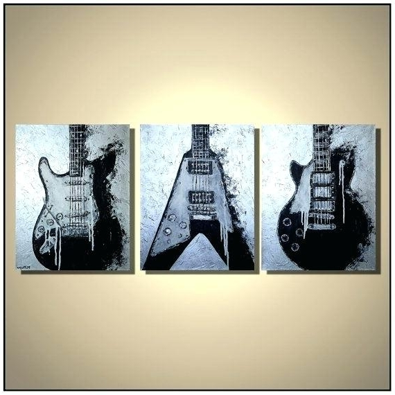 Guitar Canvas Painting Original Electric On Music Artwork Wall Art Pertaining To Most Up To Date Guitar Canvas Wall Art (Gallery 9 of 15)