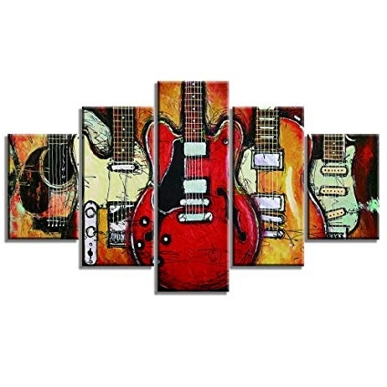 Guitar Canvas Wall Art for Newest Amazon: Guitar Music Wall Art Abstract Artwork Canvas Prints Art