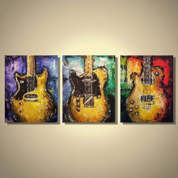 Guitar Canvas Wall Art Inside Well Known Wall Art Designs: Painting On Guitar Canvas Wall Art Hanging Bass (View 10 of 15)