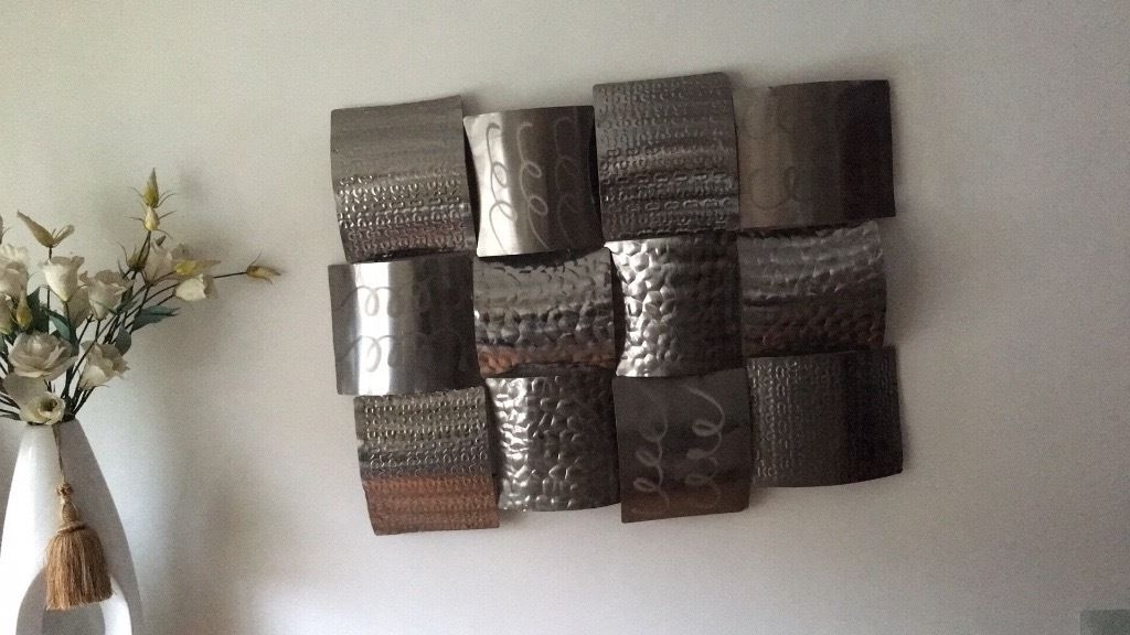 Hammered Metal Wall Art Inside Famous Metal Wall Art Silver Dunelm (View 5 of 15)
