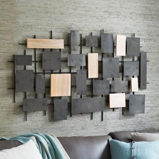 Hammered Metal + Wood Wall Art