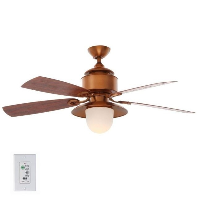 Hampton Bay Copperhead 52 Inch Indoor Outdoor Ceiling Fan With Light Pertaining To Popular Copper Outdoor Ceiling Fans (View 2 of 15)