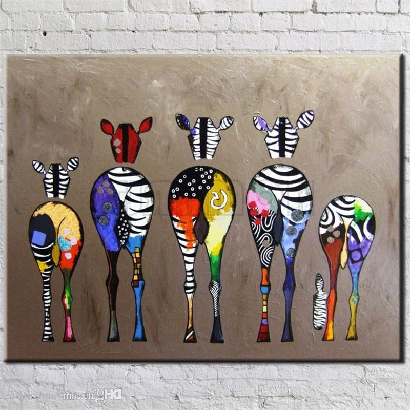 Hand Painted Abstract Andy Warhol Pop Art Painting Zebra Wall Art With Most Current Abstract Animal Wall Art (Gallery 14 of 15)