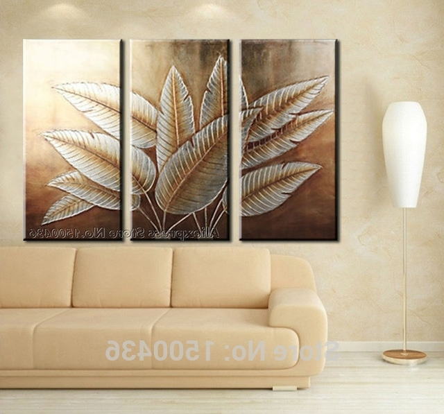 Hand Painted Abstract Canvas Art Tree Leaves 3 Piece Paintings Wall With Well Known 3 Piece Modern Wall Art (Gallery 3 of 15)