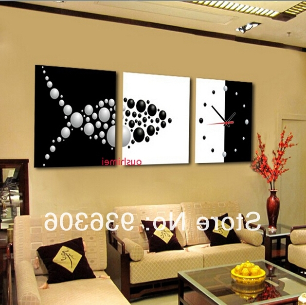 Hand Painted Abstract Clock Paintings For Living Room Wall Decor For Favorite Abstract Clock Wall Art (View 10 of 15)
