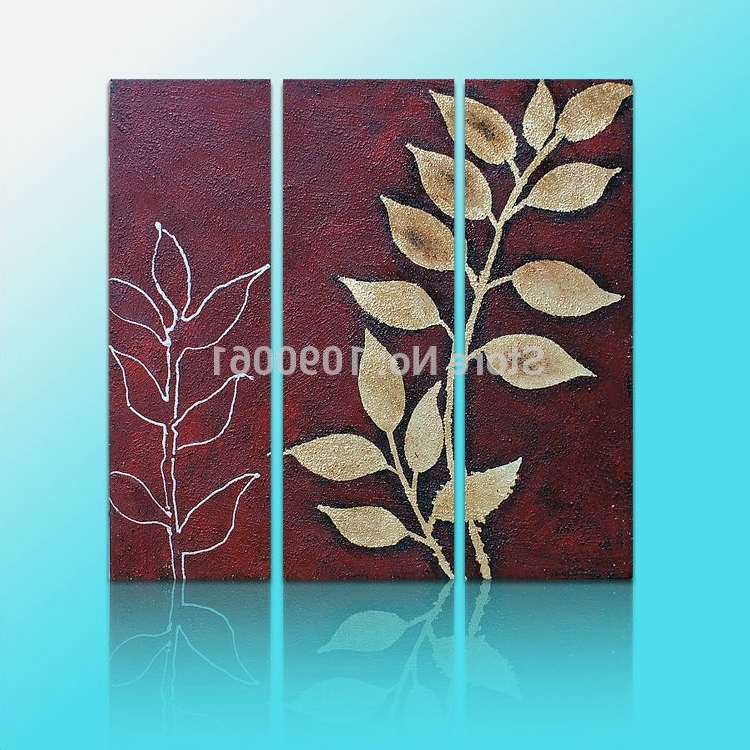 Hand Painted Abstract Leaves Branches 3 Panel Group Oil Painting Regarding Well Liked Abstract Leaves Wall Art (View 11 of 15)