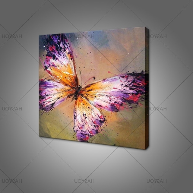 Hand Painted Abstract Purple Butterfly Oil Painting On Canvas Inside Favorite Abstract Butterfly Wall Art (View 15 of 15)