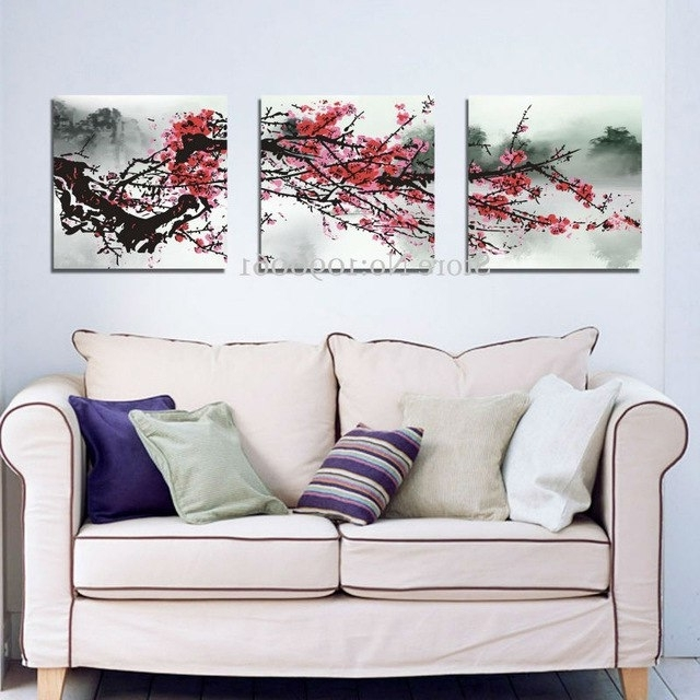 Hand Painted Abstract Red Cherry Blossom Flowers 3 Piece Canvas Inside Most Up To Date Red Cherry Blossom Wall Art (View 3 of 15)