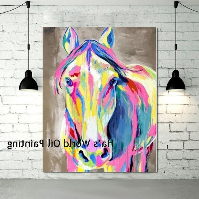 Hand Painted Cheap Wall Canvas Abstract Horse Oil Paintings Modern With Well Known Abstract Horse Wall Art (View 15 of 15)