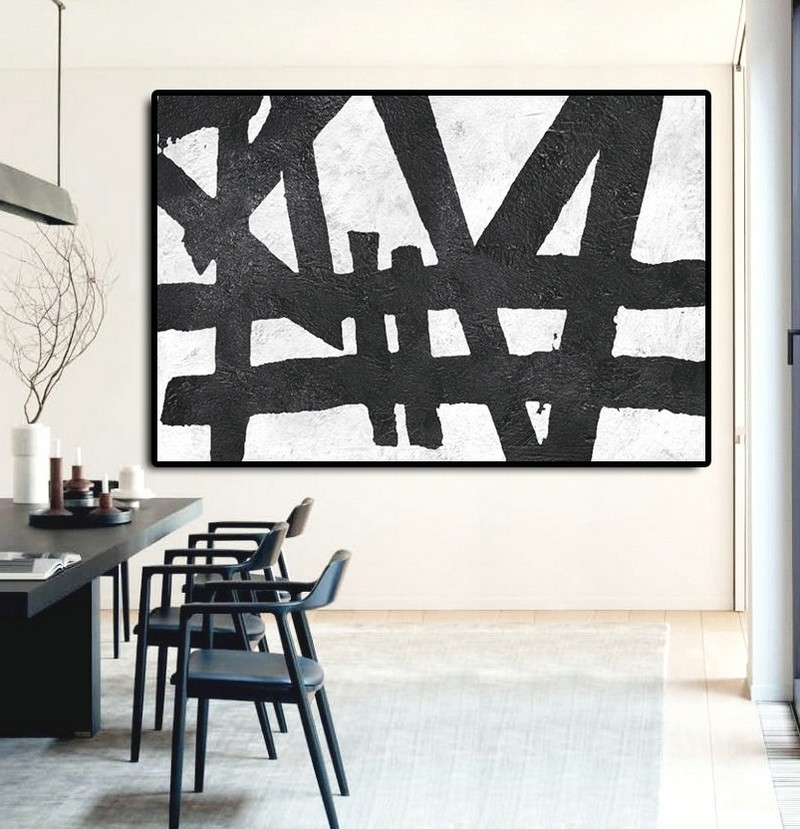 Hand Painted Extra Large Abstract Painting, Horizontal Acrylic Inside Most Up To Date Extra Large Canvas Abstract Wall Art (Gallery 13 of 15)