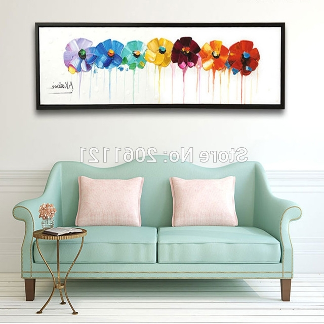 Hand Painted Large Long Wall Oil Paintings Modern Abstract Floral With Most Recently Released Abstract Floral Wall Art (Gallery 3 of 15)