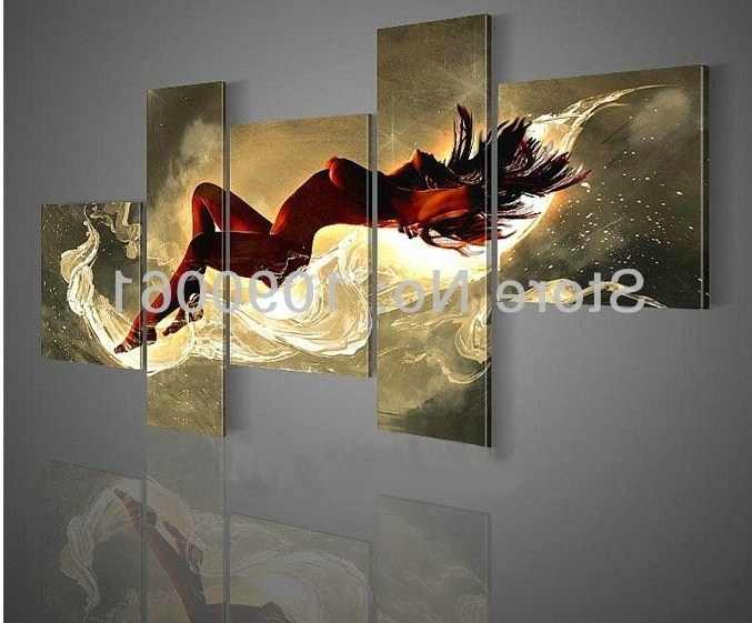 Hand Painted Large Modern Wall Art Canvas Nude 5 Panels Abstract Regarding 2018 Large Modern Wall Art (View 11 of 15)