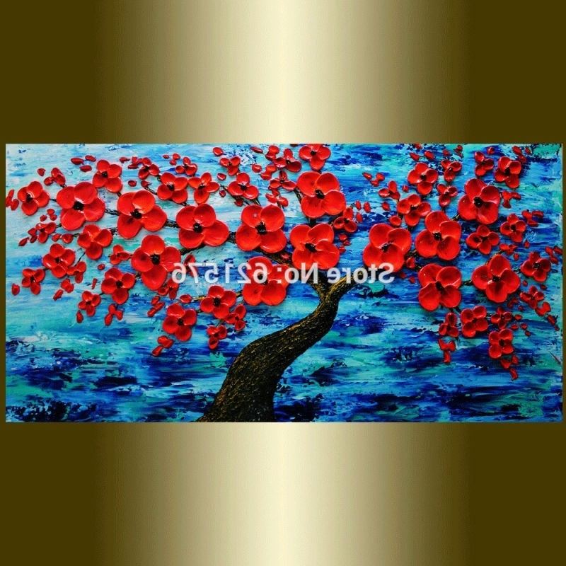 Hand Painted Living Room Home Decor Ocean Red Cherry Tree Flower Within Well Known Red And Turquoise Wall Art (View 8 of 15)