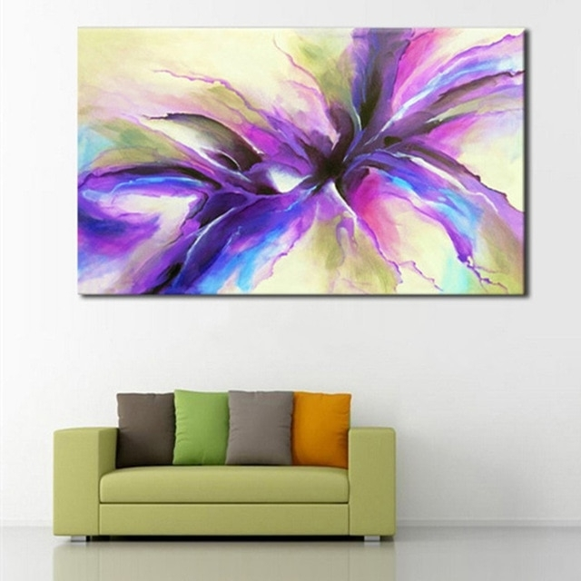 Hand Painted Modern Abstract Flower Oil Painting Large Floral Intended For Current Abstract Floral Wall Art (View 6 of 15)