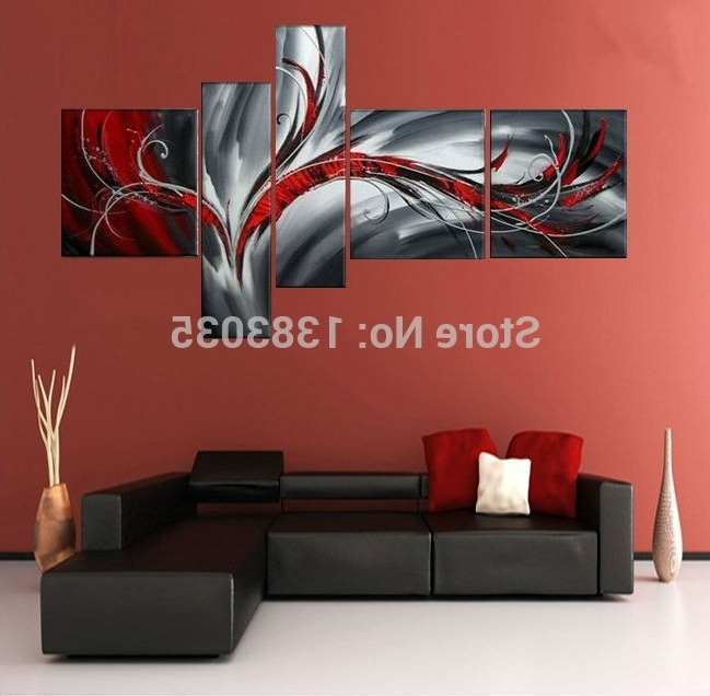 Hand Painted Modern Abstract Oil Painting On Canvas Picture 5 Pieces Within Most Current Black White And Red Wall Art (View 12 of 15)