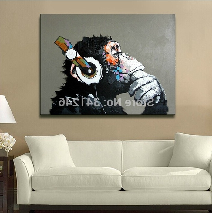 Hand Painted Modern Girl Gorilla Wall Art Picture Home Decor Living in Recent Cool Modern Wall Art