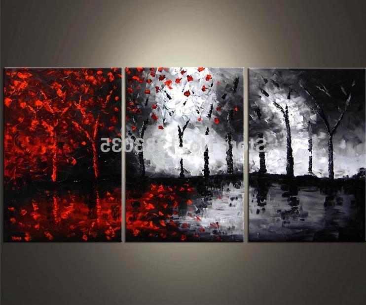 Hand Painted Oil Wall Art Abstract Black White And Red Paintings 3 In Newest Black And White Wall Art With Red (View 4 of 15)