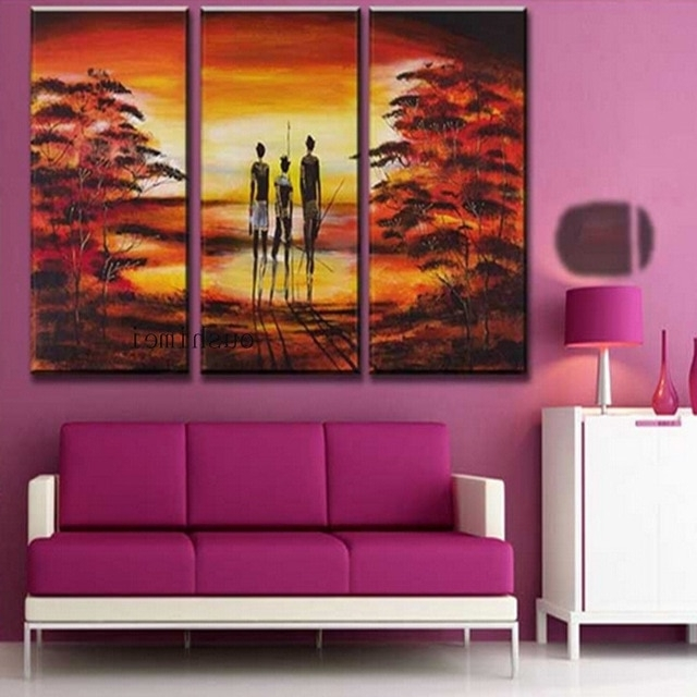 Hand Painted Pictures Abstract India Landscape Oil Painting Wall inside Most Up-to-Date India Abstract Wall Art