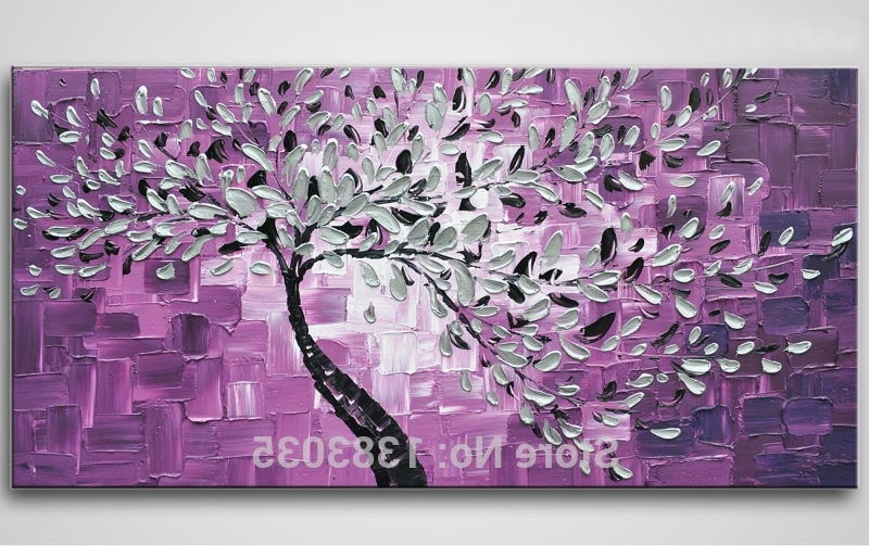 Hand Painted Purple Canvas Oil Painting Knife Canvas Wall Art Modern throughout Recent Purple Canvas Wall Art