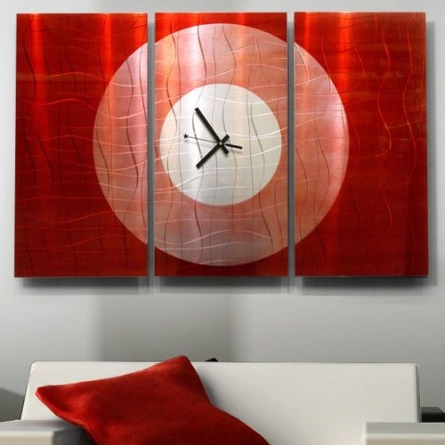 Hand Painted Red #modern Office Abstract #metal Wall Art #decor Intended For Famous Abstract Metal Wall Art With Clock (View 14 of 15)