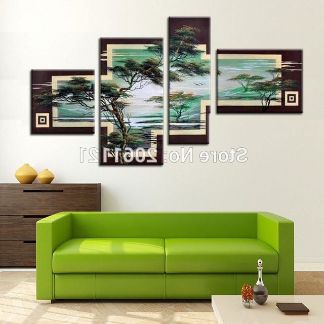 Hand Painted Tree Painting Green Landscape 4 Piece Canvas Wall Art With Most Recent 4 Piece Canvas Art Sets (View 11 of 15)