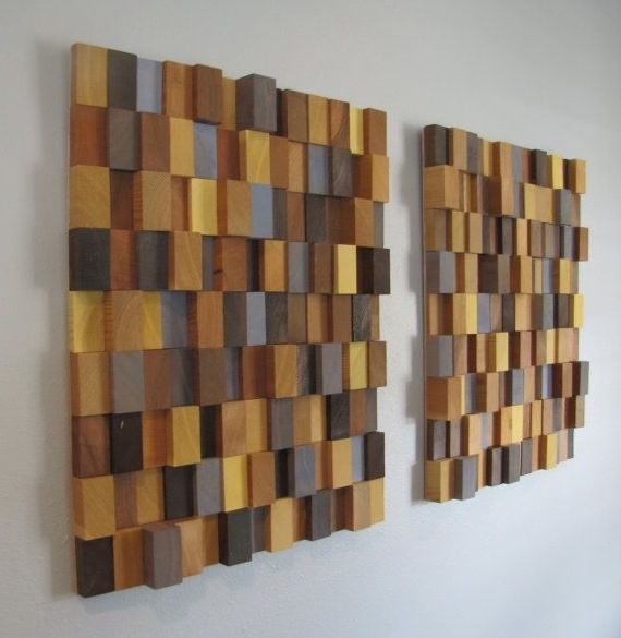 Handmade 3D Wooden Block Modern Wall Art Pair (Large) – Browns Within Well Known 3D Modern Wall Art (View 13 of 15)