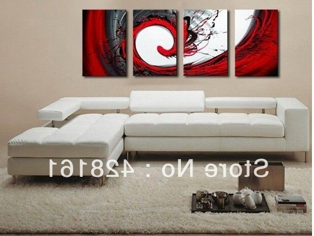 Handmade 4 Piece Black White Red Abstract Wall Art Oil Painting On In Recent Black White And Red Wall Art (Gallery 9 of 15)