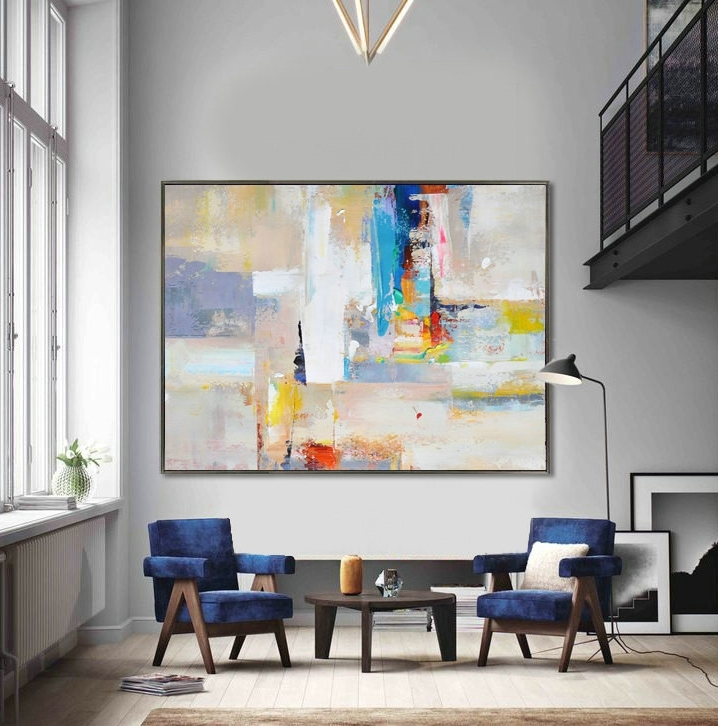 Handmade Extra Large Contemporary Painting, Huge Abstract Canvas Art For Famous Extra Large Abstract Wall Art (Gallery 5 of 15)