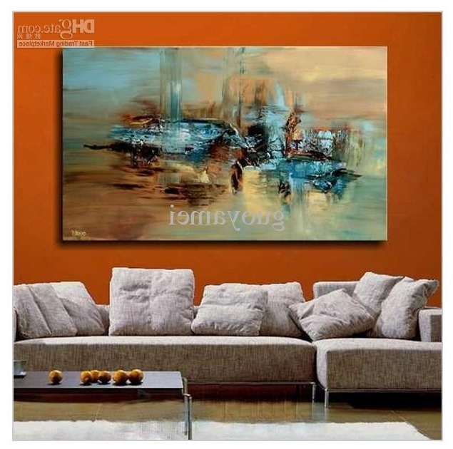 Handmade Large Modern Abstract Oil Painting Wall Art On Canvas Art With Famous Modern Abstract Oil Painting Wall Art (View 15 of 15)