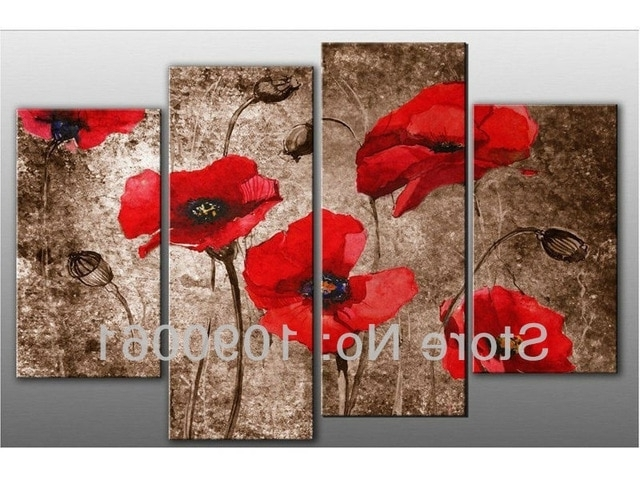 Handpainted Abstract Red Poppy Flowers Oil Paintings Canvas Wall Art With 2017 Red Poppy Canvas Wall Art (Gallery 8 of 15)
