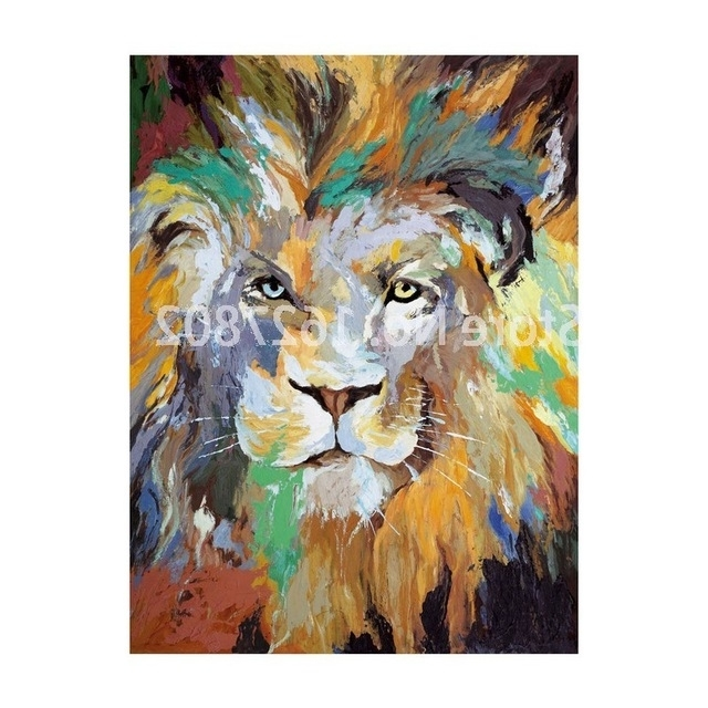 Handpainted Modern Abstract Lion Wall Art Oil Painting On Canvas Throughout Most Up To Date Abstract Lion Wall Art (View 8 of 15)
