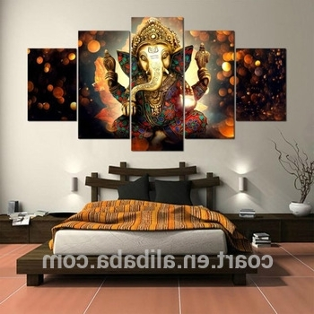 Hanging Indian God Ganesh Canvas Paintings Wall Art Decorations Intended For 2018 Ganesh Wall Art (View 14 of 15)