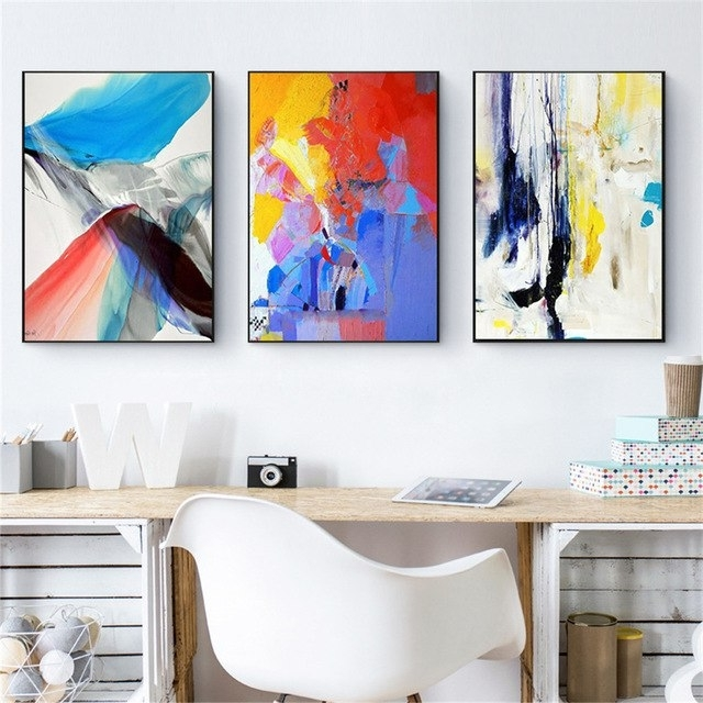 Haochu Irregular Color Block Abstract Canvas Painting Minimalist Intended For Best And Newest Abstract Wall Art For Office (View 6 of 15)