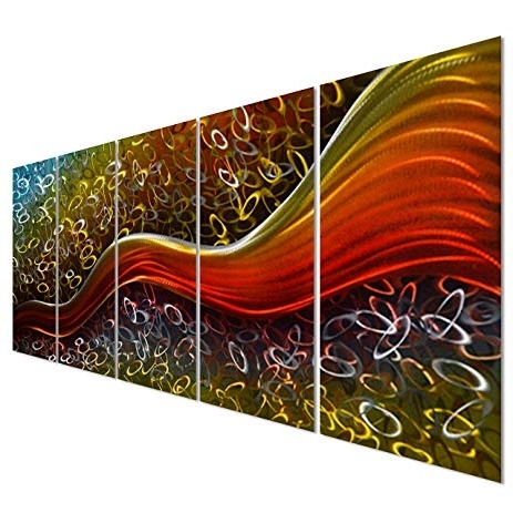 Happiness Abstract Wall Art Inside Latest Amazon: Colorful Happiness Within Field – Large Abstract Metal (View 8 of 15)