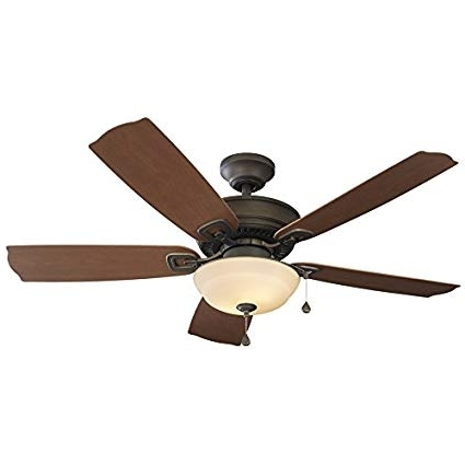 Harbor Breeze Outdoor Ceiling Fans With Lights Intended For Famous Harbor Breeze Echolake 52 In Bronze Downrod Or Close Mount Indoor (Gallery 5 of 15)