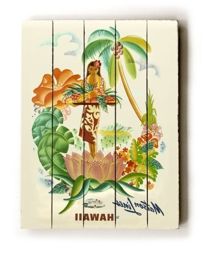"Hawaiian Wall Art Decor In Popular Amazon: Artehouse Planked Wood Sign 18"" X 24"" Vintage Hawaii (View 9 of 15)"